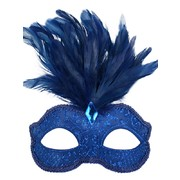 Blue Glitter Masquerade Mask with Feathers - Daniella Pk 1