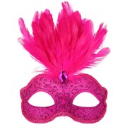 Hot Pink Glitter Masquerade Mask with Feathers - Daniella Pk 1
