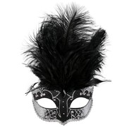 Black & Silver Masquerade Mask With Feathers - Carmela Pk 1