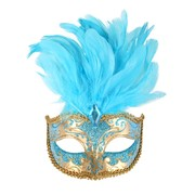 Aqua & Gold Masquerade Mask With Feathers - Isabella Pk 1