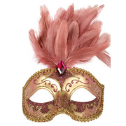 Pink & Gold Masquerade Mask With Feathers - Isabella Pk 1