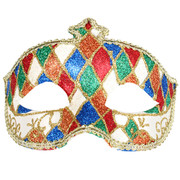Red, Green & Blue Glitter Masquerade Mask - Fiorella Pk 1