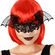 Black Metal Bat Eye Mask with Red Diamantes Pk 1
