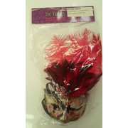 Gold & Red Masquerade Mask With Feathers - Allegra Pk 1