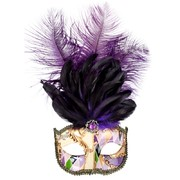 Gold & Purple Masquerade Mask With Feathers - Allegra Pk 1