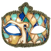 Gold, Blue & Green Venetian Masquerade Mask Pk 1