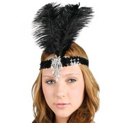 Black Sequined Headband with Feather - Clara Belle Pk 1