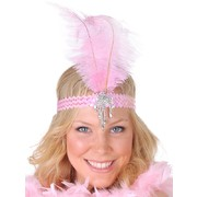 Pink Sequined Headband with Feather - Clara Belle Pk 1
