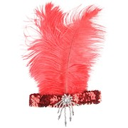Red Sequined Headband with Feather - Clara Belle Pk 1