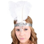 Silver Sequined Headband with Feather - Clara Belle Pk 1