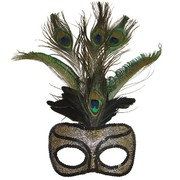Gold & Black Masquerade mask with Peacock Feathers - Anastasia Pk 1