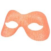 Fluro Orange Sparkle Masquerade Mask Pk 1