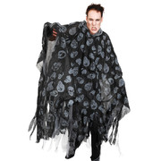 Adult Black with White Skull Hooded Cape with Tattered Edges Pk 1