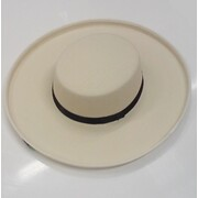 Cream Feltex Wide Brim Boater Hat with Toggle Pk 1