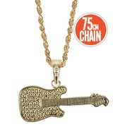 Gold Guitar on Gold Chain Necklace Pk 1