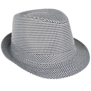 Black & White Houndstooth Trilby Hat Pk 1