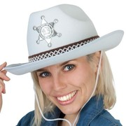 White Cowboy Hat with Woven Band Pk 1