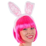 White & Pink Plush Bunny Rabbit Ears on Headband Pk 1