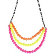 Neon 3 Layered Beaded Necklace Pk 1