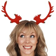 Christmas Red Reindeer Antlers on Headband with Bells Pk 1