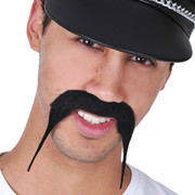 Black Downwards Tapered Moustache Pk 1 (Moustache Only)