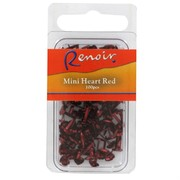 Paper Fastners Mini Heart Red Pk100