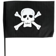 Pirate Flag Black Fabric On Stick 12x18 in Pk1