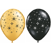 Metallic Latex Party Balloons - Sparkles & Swirls (Gold & Black) Pk5