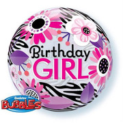 Floral Zebra Print Birthday Girl Bubble Balloon 22in Pk 1