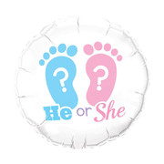 He or She Foot Prints Baby Reveal 18in Foil Balloon Pk 1