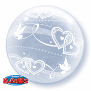 Deco Bubble Balloon Joined Hearts All Around 20in Pk1