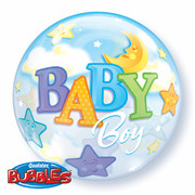 Baby Boy Moon Stars Bubble Balloon 22in Pk1