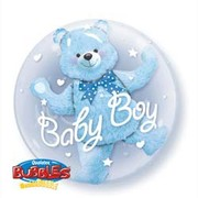 Baby Boy Blue Bear Double Bubble Balloon 24in Pk 1