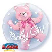 Baby Girl Pink Bear Double Bubble Balloon 24in Pk 1