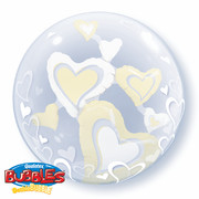 Double Bubble Balloon Floating Hearts White Ivory 24in Pk1