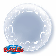 Balloon Deco Bubble Stylish Hearts 24in Pk1