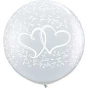 Clear Entwined Hearts 36in/90cm Standard Latex Balloons Pk 2