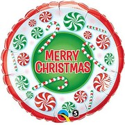 Merry Christmas Candy Foil Balloon (18in-45cm) Pk 1