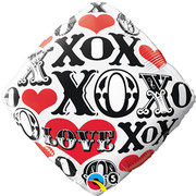 Red Hearts Love XO and XOX Foil Balloon (18in-45cm) Pk 1