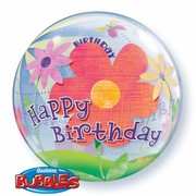 Balloon Bubble Birthday Funky Flowers Pk1