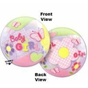 Baby Girl Butterflies Bubble Balloon 22in Pk 1