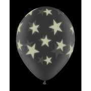 Clear Glow Stars Latex Balloons Pk5