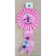 My First Birthday Pink Rosette Ribbon Pk 1