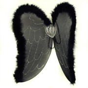 Wings & Halo Angel Black With Feathers Pk1