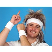80s Tennis Sweatband & Wristbands (White) Set Pk 1