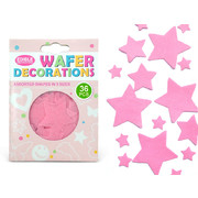 Pink Stars Edible Wafer Cake Decorations Pk 36