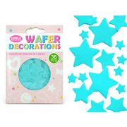 Light Blue Hearts Edible Wafer Cake Decorations Pk 36