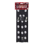 Party  Suspenders - Black with Silver Dollar Signs Pk1