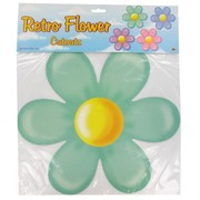 Party Decoration - Retro Flower Cutouts (14in) Pk4 (Assorted Colours)