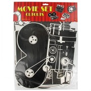 Hollywood Party Decoration - Movie Set 2-sided Cutouts (16in) Pk4 (Assorted Designs)